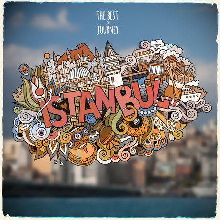 Istanbul hand lettering and doodles elements and symbols emblem