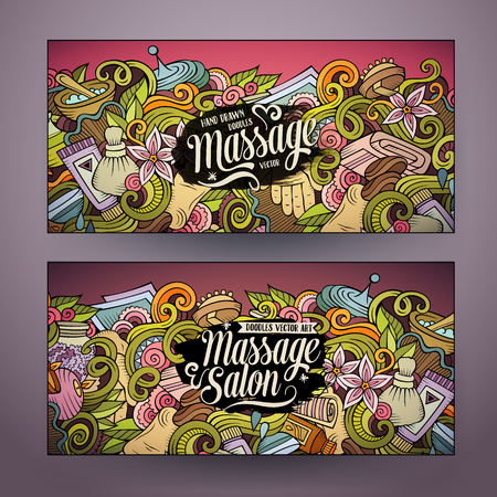Cartoon doodles Massage salon 2 horizontal banners Illustration