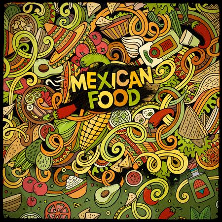 Cartoon mexican food doodles frame design Illustration