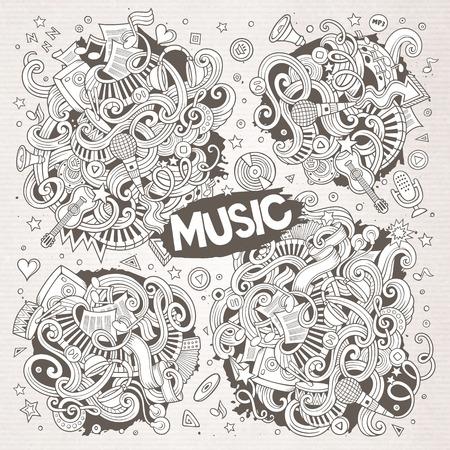 Schetsmatig vector doodles cartoon set van muziek ontwerpen