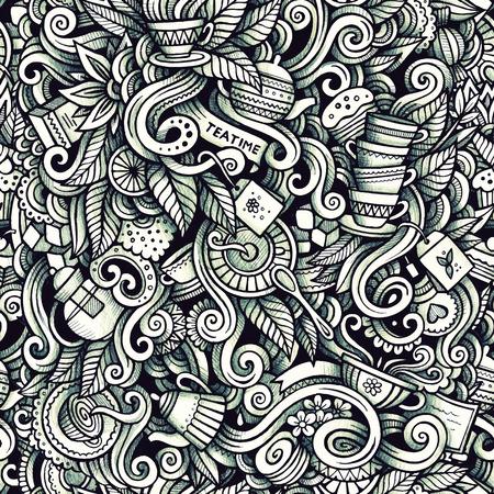 tea plantation: Graphic Tea time hand drawn artistic doodles seamless pattern