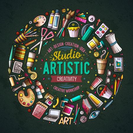 Set of Art cartoon doodle objects, symbols and items Illustration