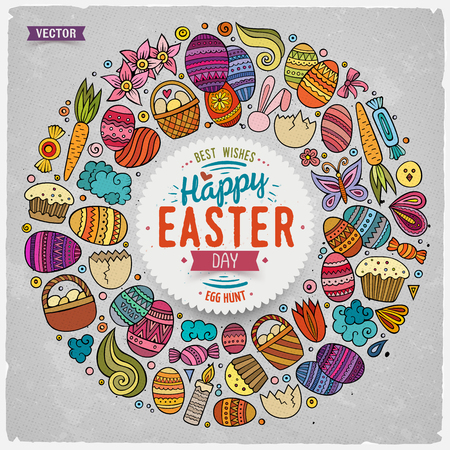 Vector set of Easter cartoon doodle objects