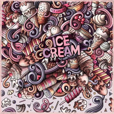Cartoon hand-drawn doodles Ice Cream frame Иллюстрация