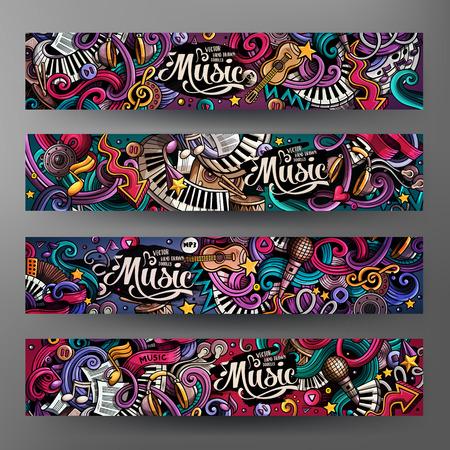 Cartoon hand getekende doodles Musical banners Stock Illustratie
