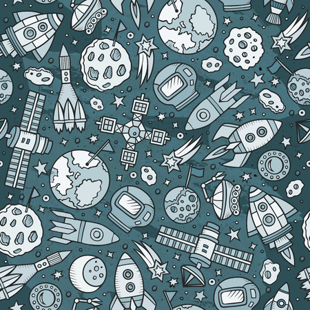 Cartoon hand-drawn space, planets seamless pattern Illustration