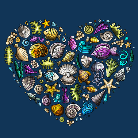 Colorful set of marine life objects Illustration