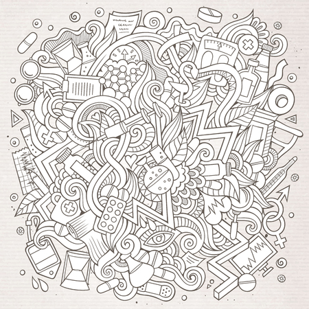 Cartoon cute doodles hand drawn Medical illustration Ilustracja