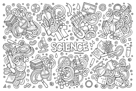 Vector cartoon set of Science theme doodles design elements Çizim
