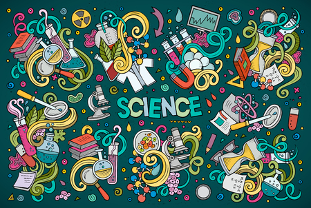 Vector cartoon set of Science theme doodles design elements Stock Illustratie