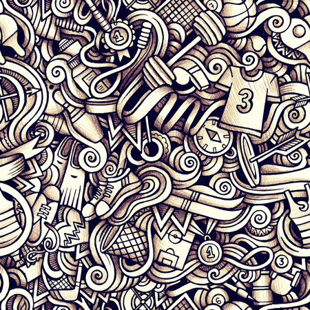 boxing tape: Graphic Sport hand drawn artistic doodles seamless pattern