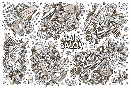 barbershop: Vector cartoon set of Hair salon theme doodles design elements