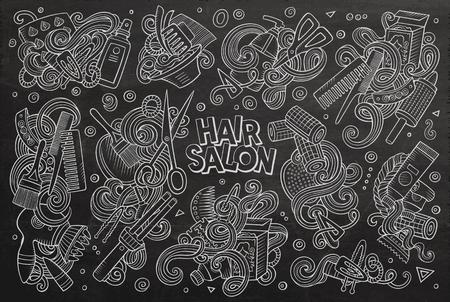 Vector cartoon set of Hair salon theme doodles design elements