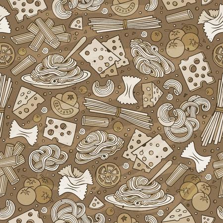 italy culture: Cartoon cute hand drawn Italian food seamless pattern. Illustration