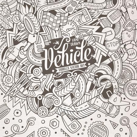 Cartoon cute doodles Vehicle frame Illustration