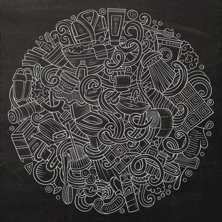 Cartoon cute doodles Bathroom illustration