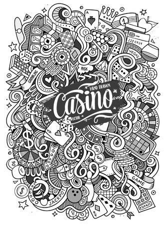 Von Hand gezeichnetes Gekritzelkasino der Karikatur, spielende Illustration Standard-Bild - 74945227