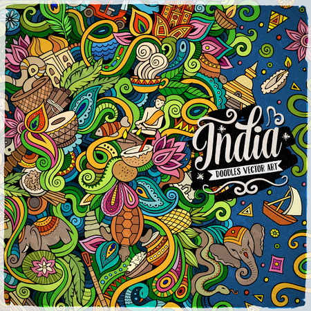 tea plantation: Cartoon hand-drawn doodles India illustration