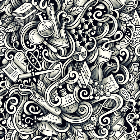 Graphic Science hand drawn artistic doodles seamless pattern. Mo Banco de Imagens