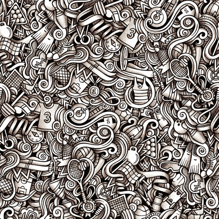 Graphic Sport hand drawn artistic doodles seamless pattern. Mono