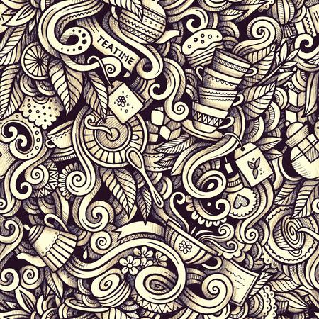 Graphic Tea time hand drawn artistic doodles seamless pattern. M Фото со стока - 75236813
