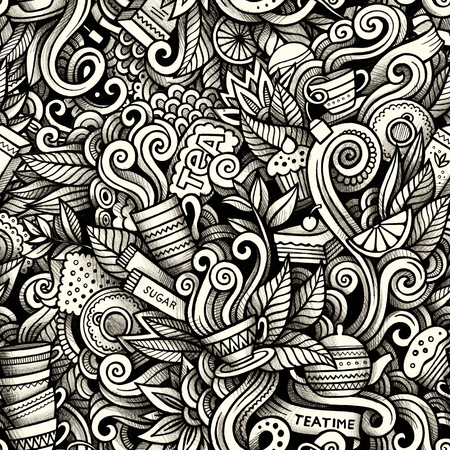 Graphic Tea time hand drawn artistic doodles seamless pattern. M