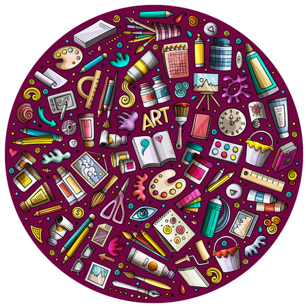 Colorful vector set of Art cartoon doodle objects
