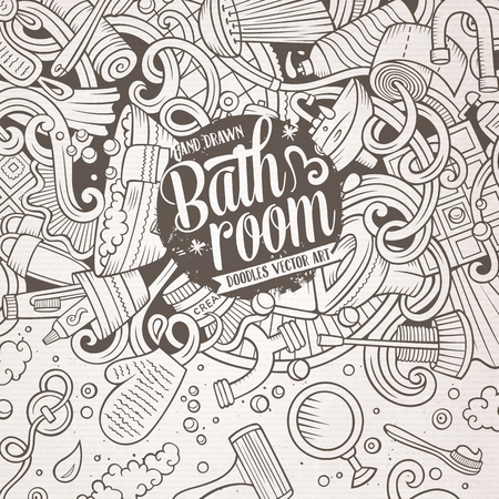 sanitary towel: Cartoon cute doodles hand drawn Bathroom frame design. Line art detailed, with lots of objects background. Funny vector illustration. Vintage border with bath room theme items