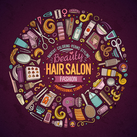 Colorful vector hand drawn set of Hair salon cartoon doodle objects, symbols and items. Round frame composition