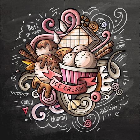 Illustration vectorielle de crème glacée art dessin animé doodle. Chalkboard design détaillé coloré avec beaucoup d'objets et de symboles. Tous les éléments sont séparés