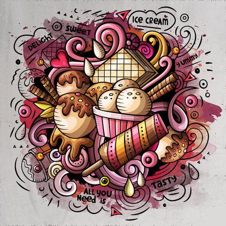 Illustration vectorielle de crème glacée art dessin animé doodle. Conception détaillée aquarelle avec beaucoup d'objets et de symboles. Tous les éléments sont séparés Banque d'images - 75755729