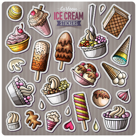 Set of Ice Cream cartoon stickers. Vector objects and symbols collection. Label design elements. Cute patches, pins, badges series. Comic style. Ilustração