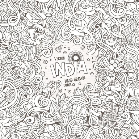 手描き漫画は落書きインドの図です。詳細は、オブジェクトのベクトルのデザインの背景の多くのライン アート フレーム  イラスト・ベクター素材
