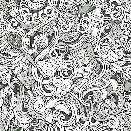 Cartoon cute doodles hand drawn Russian food seamless pattern. Monochrome detailed, with lots of objects background. Endless funny cuisine vector illustration Иллюстрация