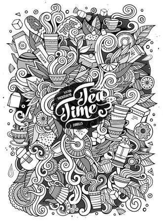Cartoon cute doodles hand drawn Tea time illustration. Sketchy detailed, with lots of objects background. Funny vector artwork