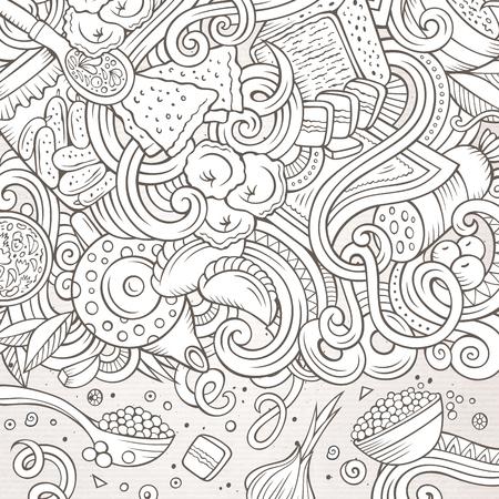 Cartoon niedlichen Doodles Hand gezeichneten russischen Essen Rahmen Design. Kontur detailliert, mit vielen Objekten Hintergrund. Lustige Vektor-Illustration. Linie Kunst Grenze mit Küche Thema Elemente Standard-Bild - 75868312