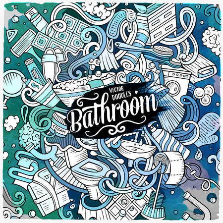Cartoon cute doodles hand drawn Bathroom illustration. Watercolor detailed, with lots of objects background. Funny vector artwork