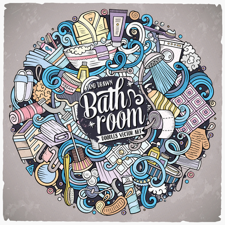 Cartoon cute doodles hand drawn Bathroom illustration. Colorful detailed, with lots of objects background. Funny vector artwork Ilustração