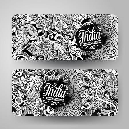 Cartoon cute line art vector hand drawn doodles India corporate identity. 2 horizontal banners design. Templates set