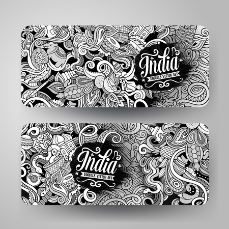 Cartoon cute line art vector hand drawn doodles India corporate identity. 2 horizontal banners design. Templates set