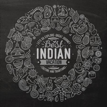 Chalkboard vector hand drawn set of Indian cartoon doodle objects, symbols and items. Round frame composition