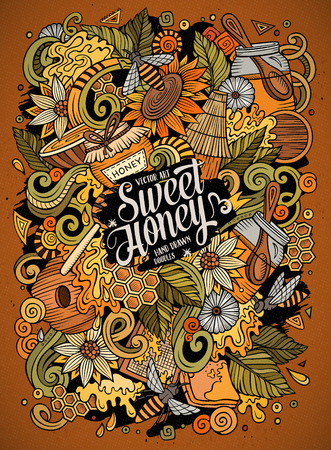 Cartoon cute doodles hand drawn Honey illustration. Colorful detailed, with lots of objects background. Funny vector artwork.