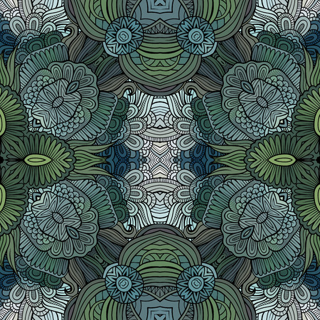 Abstract vector ethnique seamless floral pattern Banque d'images - 78158813