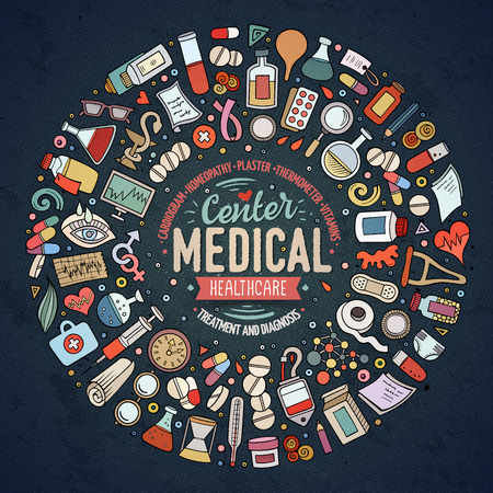 enema: Vector set of Medical cartoon doodle objects Illustration