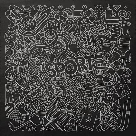 flippers: Cartoon cute doodles hand drawn Sport illustration