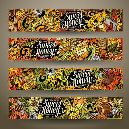 Cartoon cute colorful vector hand drawn doodles Honey corporate identity. 4 horizontal banners design. Templates set