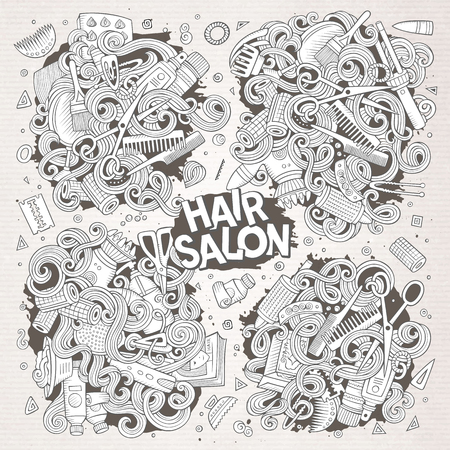 Vector hand drawn doodle cartoon set of Hair salon theme items, objects and symbols. Paper background