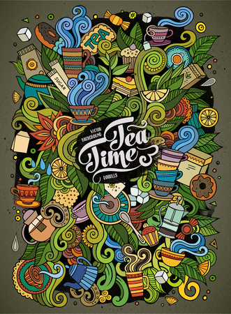 Cartoon cute doodles hand drawn Tea time illustration. Colorful detailed, with lots of objects background. Funny vector artwork