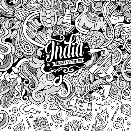 design objects: Cartoon hand-drawn doodles India illustration. Line art frame detailed, with lots of objects vector design background