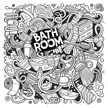 Cartoon cute doodles hand drawn Bathroom illustration. Line art detailed, with lots of objects background. Funny vector artwork Illustration